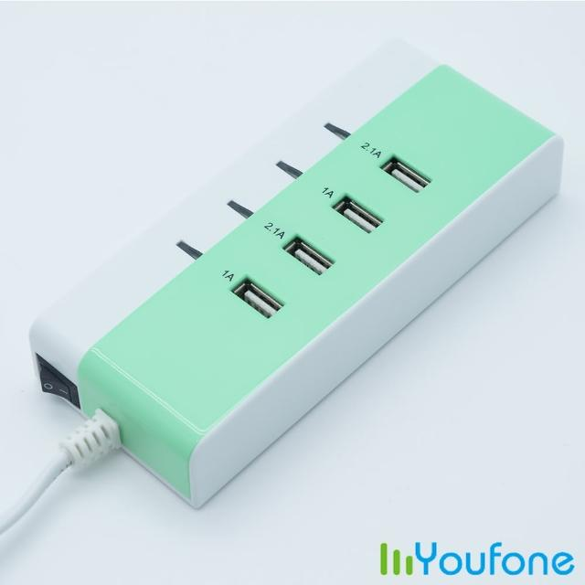 【Youfone】USB智慧充電座加贈繽紛馬卡龍充電線(蘋果綠)