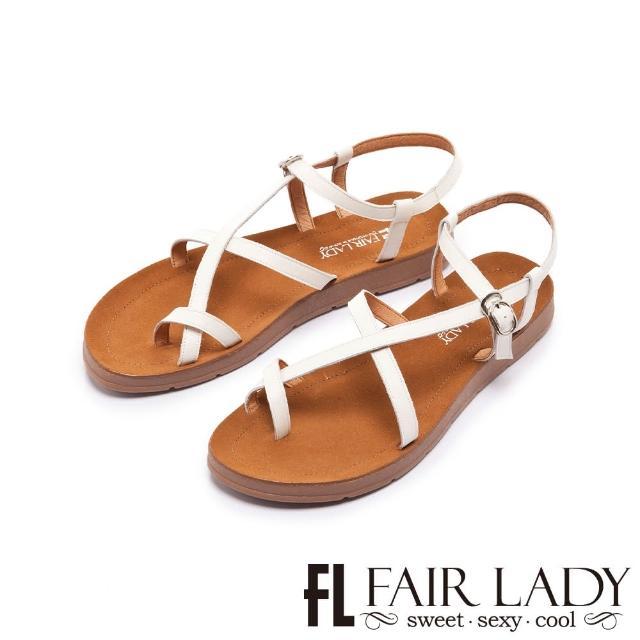 【FAIR LADY】盛夏 光澤感細帶繞趾平底涼鞋(白、102410)