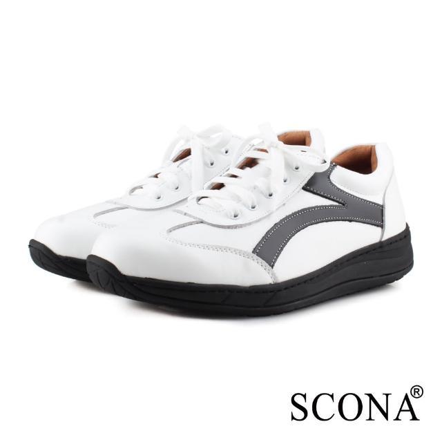 【SCONA 蘇格南】全真皮 輕量高彈力綁帶休閒鞋(白色 1278-3)