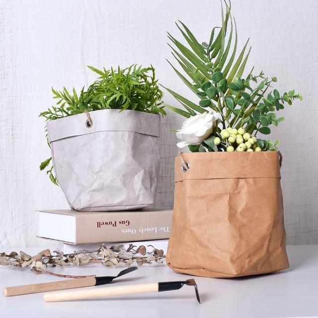 【Meric Garden】北歐風可水洗可折疊牛皮紙收納袋/花盆套(2色任選)