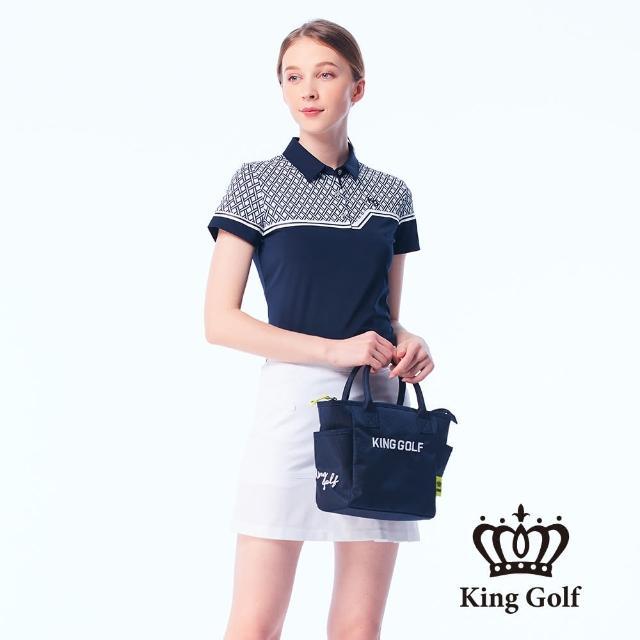 【KING GOLF】女款幾何印花線條撞色涼感短袖POLO衫(藍色)