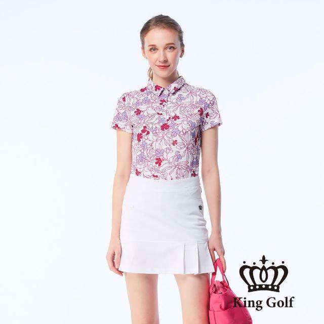 【KING GOLF】女款滿版盛夏花朵印花燙鑽涼感短袖POLO衫(粉色)