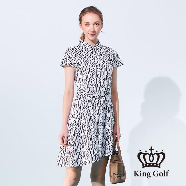 【KING GOLF】女款滿版字母印花刺繡涼感收腰短袖連身裙(黑色)