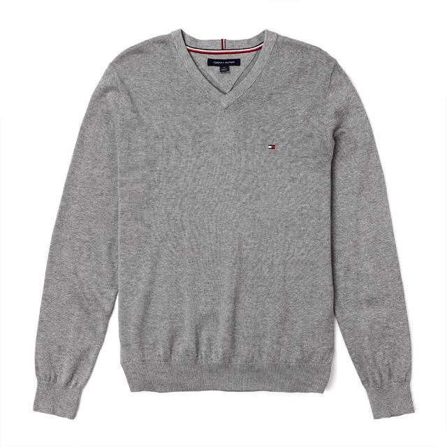 【Tommy Hilfiger】TOMMY 經典V領Logo毛衣-灰色
