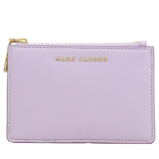 【MARC JACOBS 馬克賈伯】金屬LOGO信用卡證件鑰匙圈零錢包(粉紫)