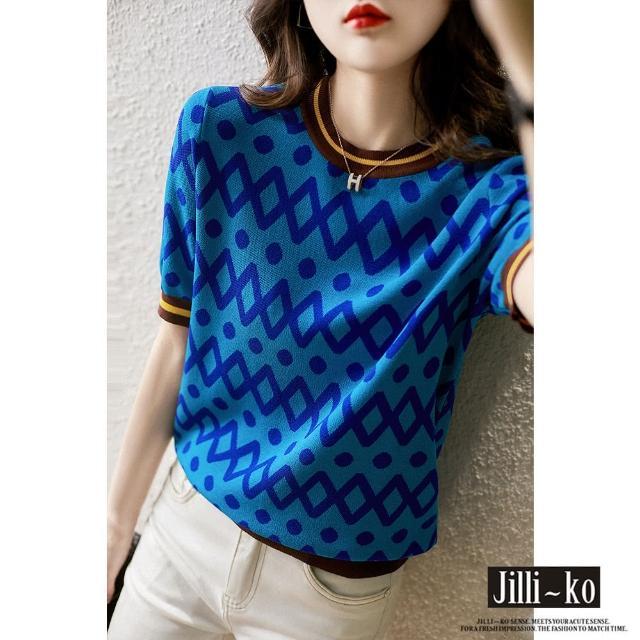 【JILLI-KO】時尚配色薄款針織衫-F(藍)