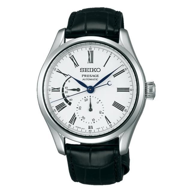 【SEIKO 精工】琺瑯工藝機械腕錶/動力儲存顯示/41mm/白(SPB045J1)