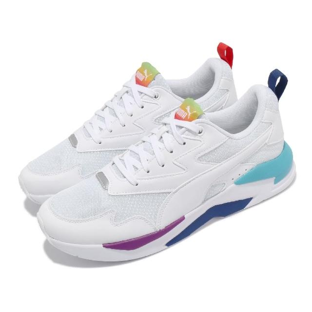 【PUMA】休閒鞋 X-Ray Lite Rainbow 男女鞋 皮革鞋面 情侶鞋穿搭 彩虹 白 彩(36886302)