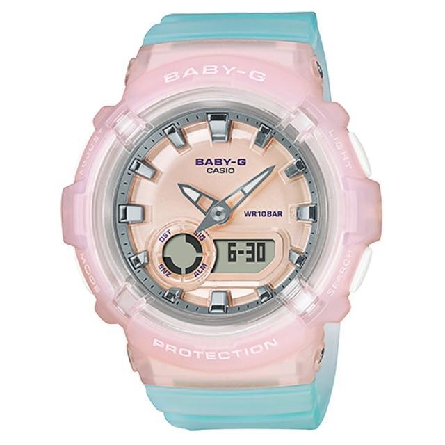 【CASIO 卡西歐】Baby-G LA街頭設計 金屬光感 半透明 雙顯手錶-淺粉x湖水藍(BGA-280-4A3)