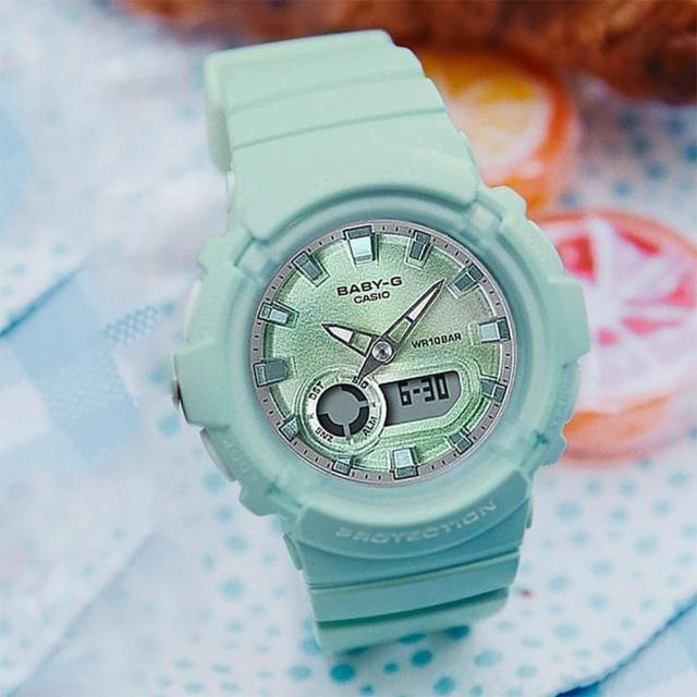 【CASIO 卡西歐】Baby-G LA街頭設計 金屬光感雙顯手錶-薄荷綠(BGA-280-3A)