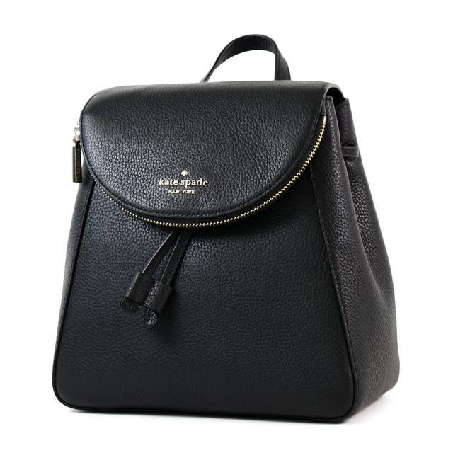 【KATE SPADE】LEILA 荔枝紋翻蓋束口磁扣後背包-黑色