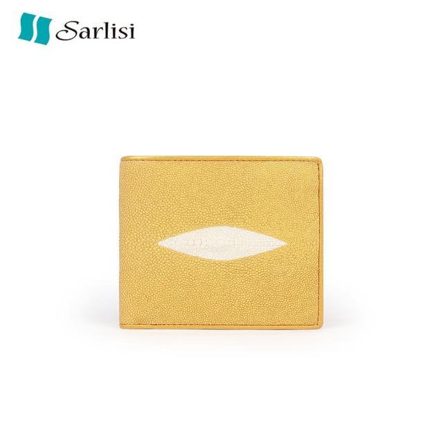 【Sarlisi】經典百搭珍珠魚真皮錢夾短夾(金色、銀色)