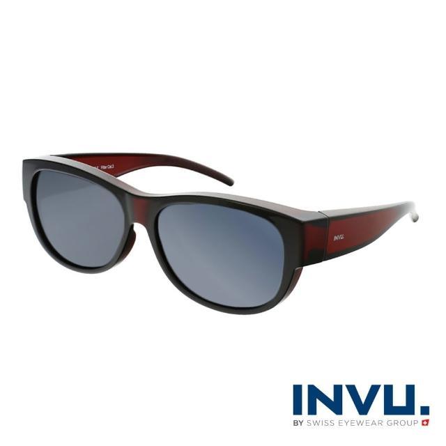 【INVU】瑞士完美曲線套鏡式偏光太陽眼鏡(酒紅 E2002E)
