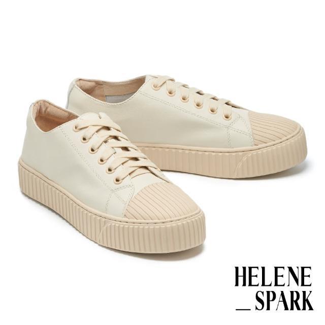 【HELENE SPARK】率性日常全真皮綁帶線感厚底休閒鞋(米)