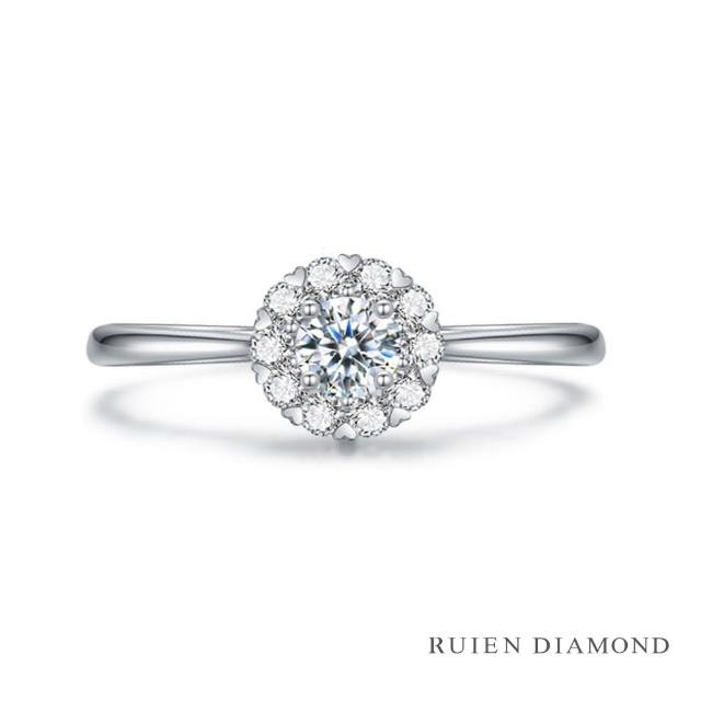 【RUIEN DIAMOND 瑞恩鑽石】真鑽10分 花火 群鑲 女款線戒(鑽石戒指 RUU228)