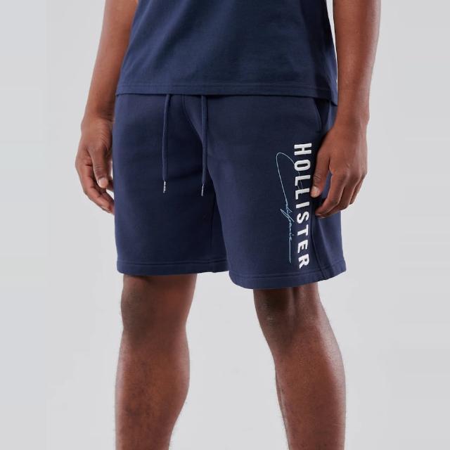 【HOLLISTER Co】Hollister 經典刺繡文字棉短褲-深藍色