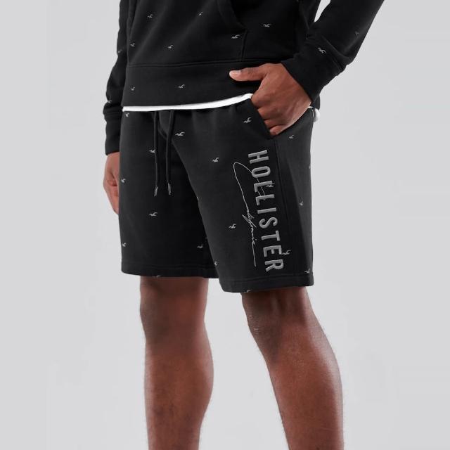 【HOLLISTER Co】Hollister 經典刺繡滿版小海鷗文字棉短褲-黑灰色