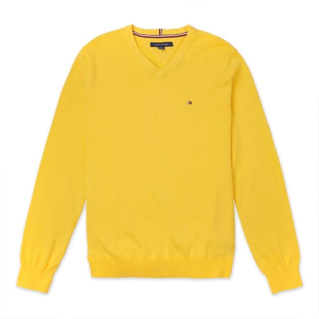 【Tommy Hilfiger】TOMMY 經典V領Logo毛衣-黃色