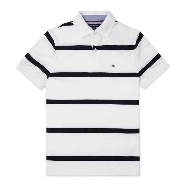 【Tommy Hilfiger】TOMMY 經典刺繡Logo短袖Polo衫-白深藍條紋色