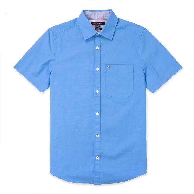 【Tommy Hilfiger】TOMMY 經典刺繡Logo短袖襯衫-藍色