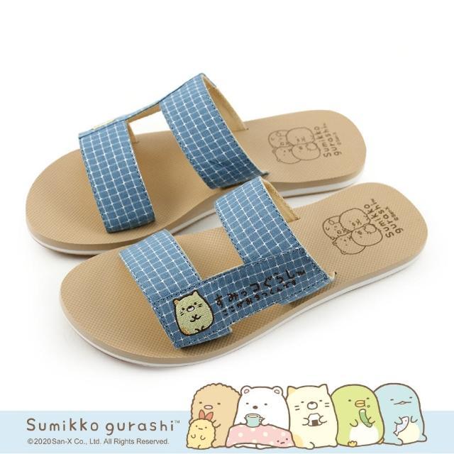 【Paidal】角落小夥伴 日系格紋H型鞋面拖鞋涼鞋(貓咪)