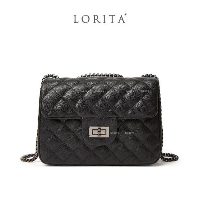 【LORITA】菱格細紋中型方包(大容量好攜帶)
