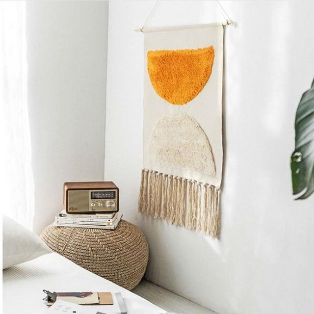 【JEN】北歐風手工編織流蘇牆壁裝飾掛畫掛毯壁畫50*70cm蒂芙尼