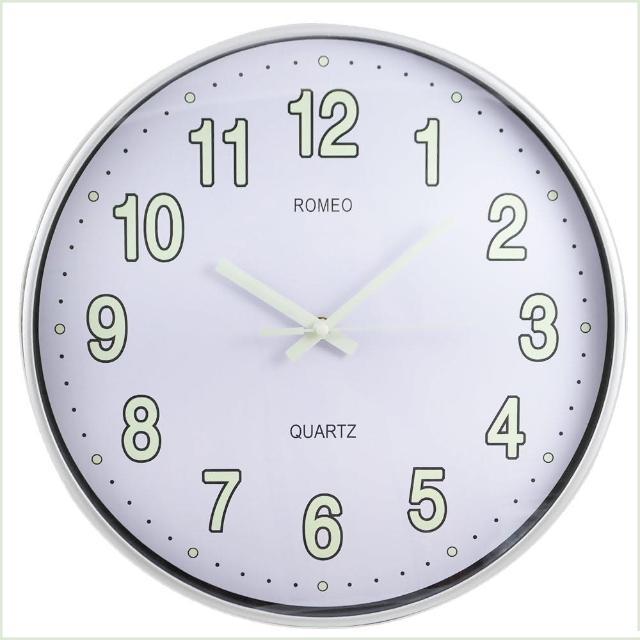 【羅蜜歐】14吋夜光蓄能靜音金屬掛鐘(NEW-58)