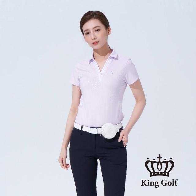 【KING GOLF】女款煙火印圖背面撞色織帶短袖POLO衫(粉紫)