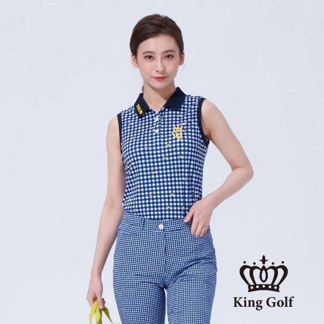 【KING GOLF】女款格紋印圖塗鴉刺繡背心POLO衫(藍色)