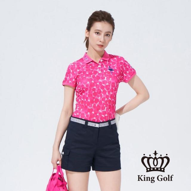 【KING GOLF】女款點點印圖火鶴刺繡短袖POLO衫(桃紅)