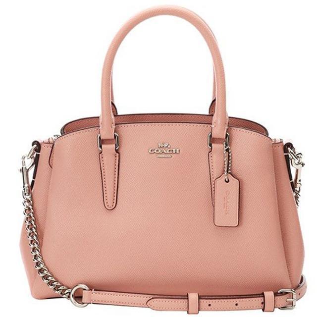 【COACH】櫻花粉皮革小款三層手提斜背黛妃包