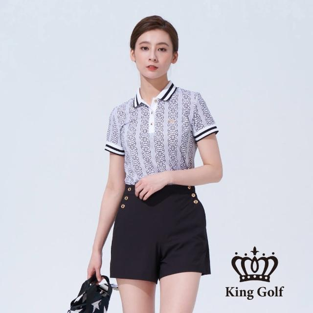 【KING GOLF】女款鐵鍊印圖LOGO刺繡織帶撞色短袖POLO衫(黑色)
