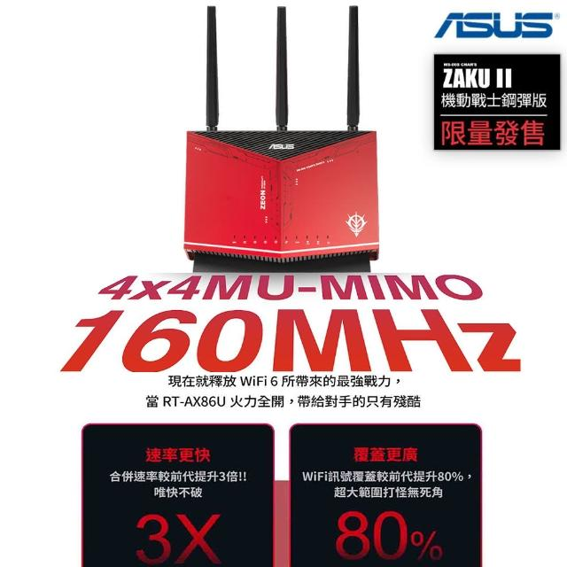【ASUS 華碩】ASUS X GUNDAM RT-AX86U WI-FI 6 雙頻無線電競路由器 分享器(鋼彈薩克限量款)