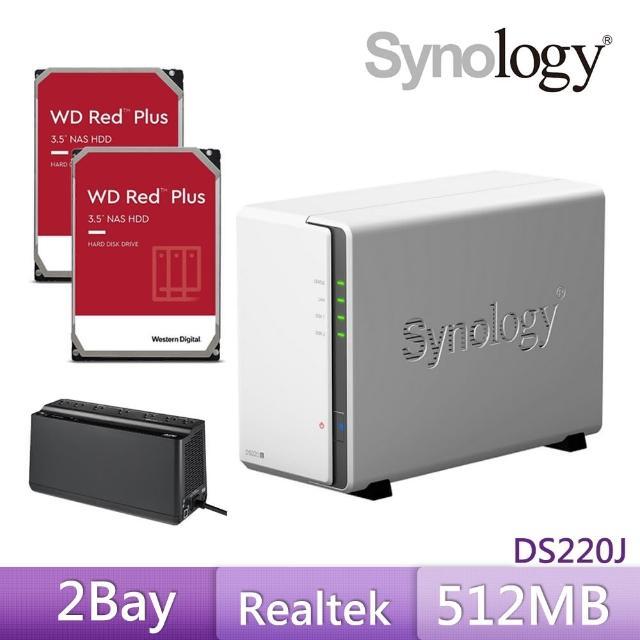 【搭APC 650VA離線式UPS+WD 4TB Plus x2】Synology 群暉科技 DS220j 網路儲存伺服器
