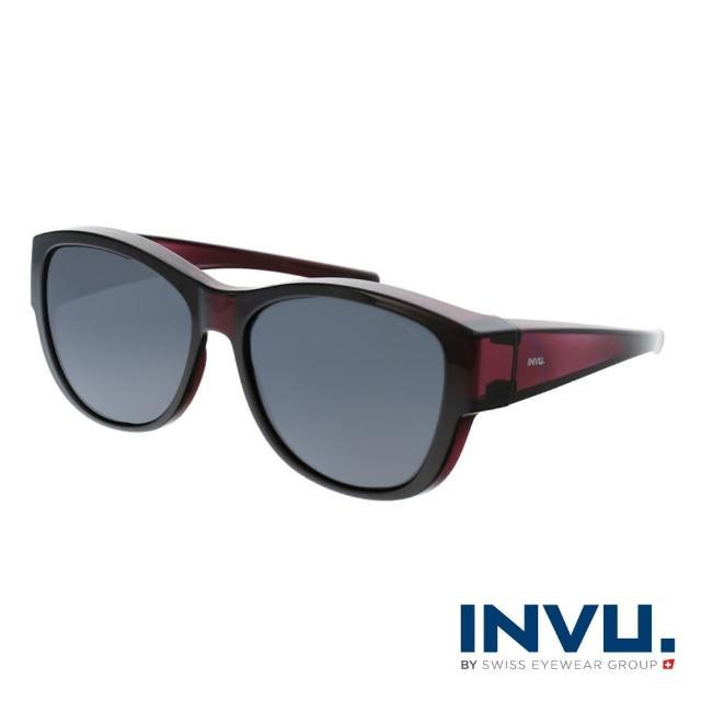 【INVU】瑞士摩登時尚套鏡式偏光太陽眼鏡(紫紅 E2102D)