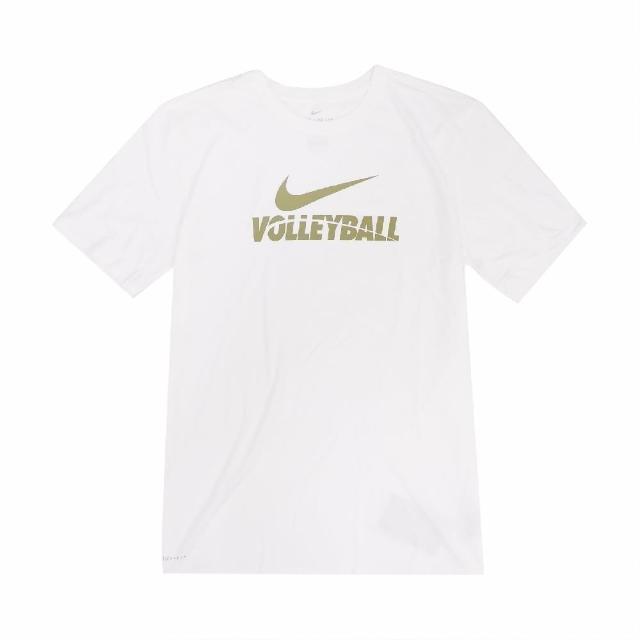 【NIKE 耐吉】T恤 Volleyball Tee 休閒 棉質 男款 DRI-FIT 吸濕排汗 快乾 圓領 白 金(561416100V-B70)