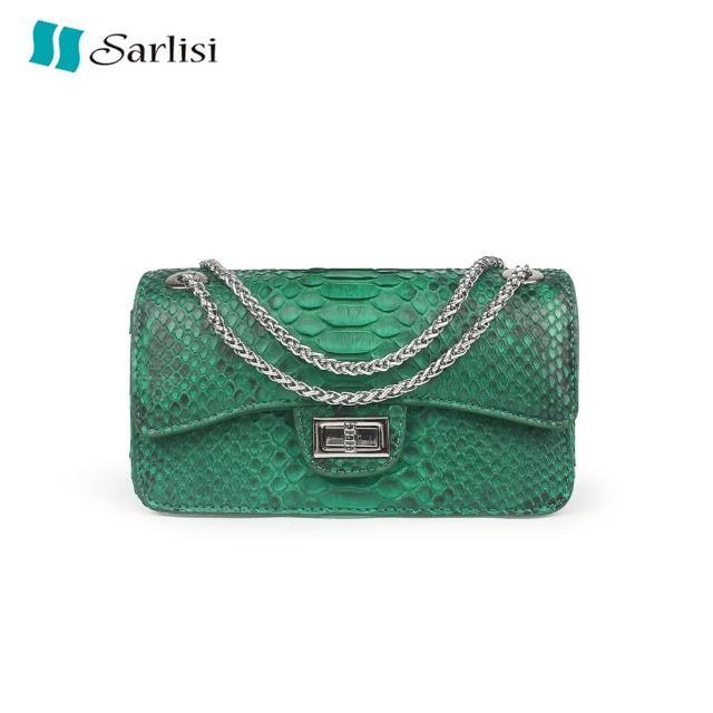 【Sarlisi】泰國進口新款蟒蛇皮真皮女包斜背包小包夏季側背包小方包