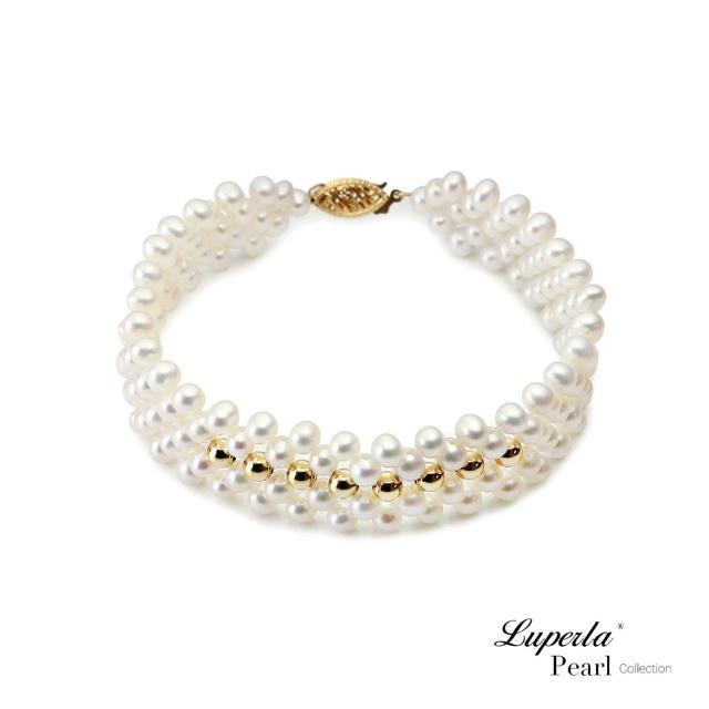 【大東山珠寶】Be loved天然淡水珍珠手環 14k金 歐美古典編織珠寶 19CM(時尚珍珠/14K金)