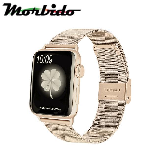 【Morbido蒙彼多】Apple Watch 44mm不鏽鋼編織卡扣式錶帶