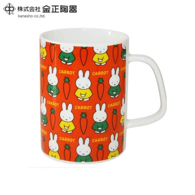 【Miffy 米飛】日本金正陶器 米菲兔胡蘿蔔陶瓷馬克杯(日本製 日本原裝進口瓷器)