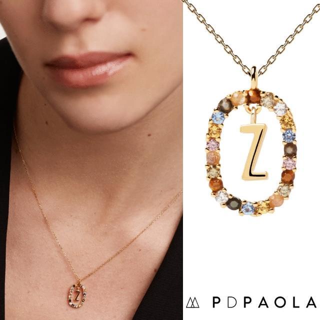 【PD PAOLA】西班牙時尚潮牌 金色Z字母項鍊 彩寶橢圓形項鍊 925純銀鑲18K金(925純銀鑲18K金)