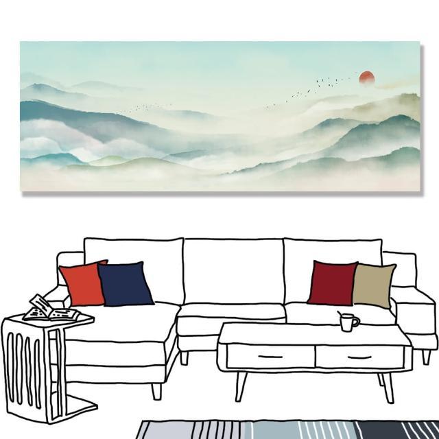 【24mama 掛畫】單聯式 油畫布 古典 風景 仙境 溫和 平緩 太陽 鳥 動物 無框畫 時鐘掛畫-80x30cm(水墨山水)