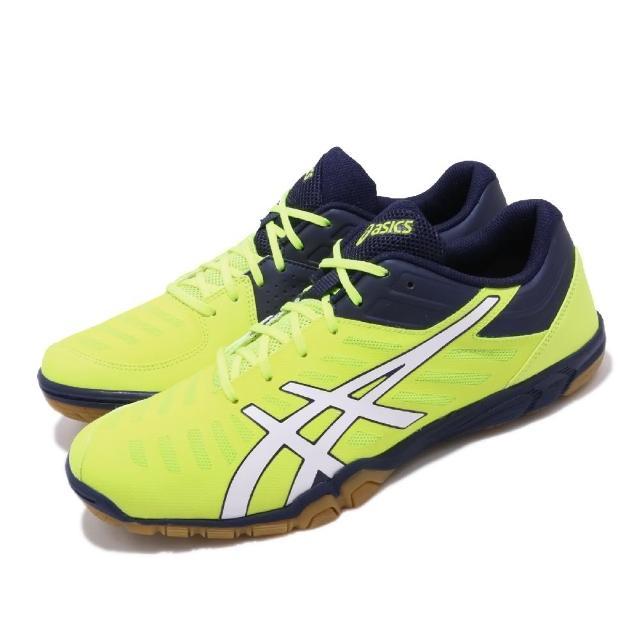 【asics 亞瑟士】桌球鞋 Attack Excounter 2 男女鞋 亞瑟士 運動 速度型 橫向移動 輕量 黃藍(1073A002750)