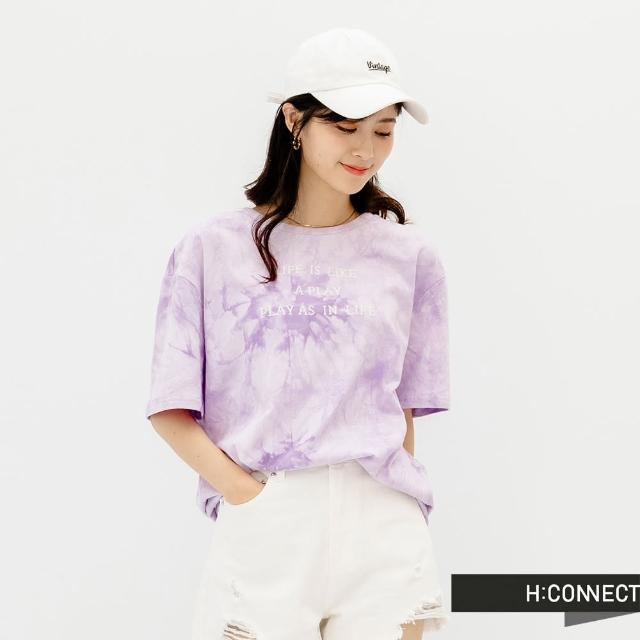 【H:CONNECT】韓國品牌 女裝 -英文字樣圖印寬版渲染T恤(淺紫)