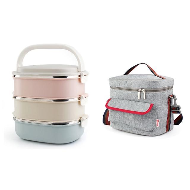 【PUSH!】餐具用品不銹鋼保溫飯盒防燙3色組合3層便當盒加保溫袋(E91-1)