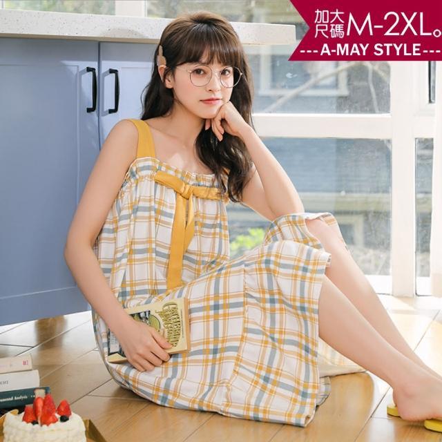 【Amay Style 艾美時尚】居家服-小清新朵結舒適棉吊帶睡衣。加大碼M-2XL(7色.預購)