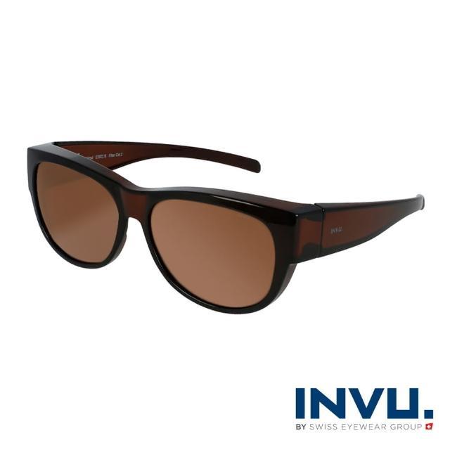 【INVU】瑞士質感圓框套鏡式偏光太陽眼鏡(暗棕 E2603B)