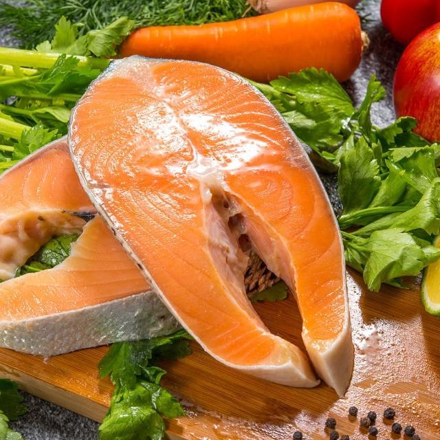 【鮮綠生活-送剖半鮭魚頭】買7送7 智利頂級鮭魚切片 共計14片(220g±10%/片『momo老饕美味標章』 認證)