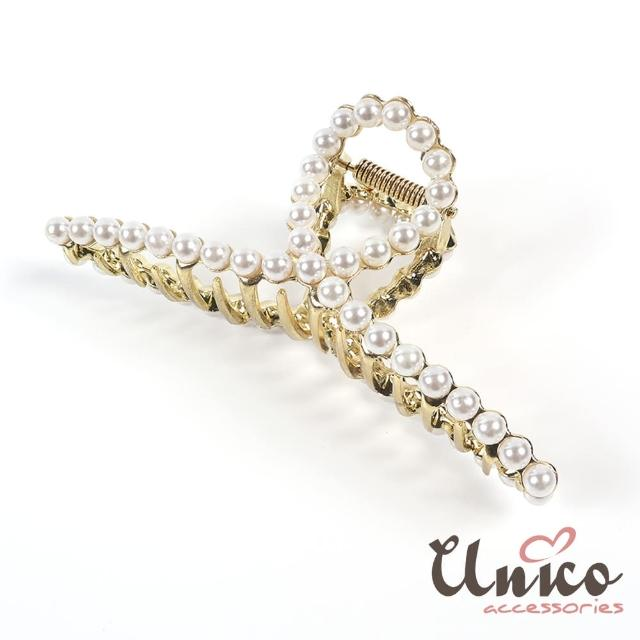 【UNICO】簡約優雅法式風珍珠大號鯊魚夾/髮夾(髮飾/配件/珍珠/金屬)